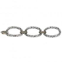 Lady's White Ss-14K Fancy Link Bracelet with Round Brown Diamonds