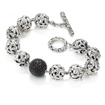 Lady's Sterling Silver Bracelet with Round Black Sapphires