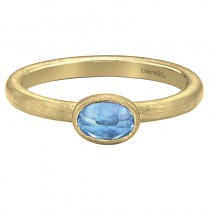 Lady's Yellow 14 Karat Fashion Ring With One Oval Swiss Blue Topaz