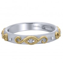 Lady's Two-Tone 14 Karat Fashion Ring With Round Diamonds