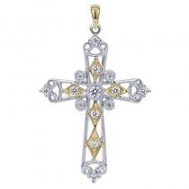 Lady's Two-Tone 14 Karat Cross Pendant With 0.26Tw Round Diamonds