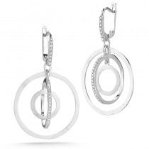 Lady's White 14 Karat 3D Circle Earrings