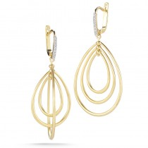 Lady's Yellow 14 Karat Tear Drop Earrings