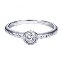 Lady's White 14 Karat Fashion Ring With One 0.05Ct Round H Si2 Diamond