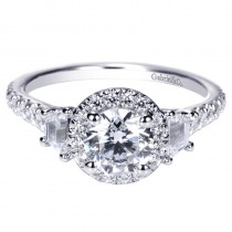 Lady's White 14 Karat Halo With Trapezoid Sides Engagement Ring With One Round Diamond And Various Shapes Diamonds