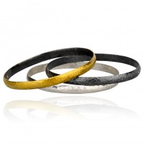 Yellow Sterling Silver Fused With 24Kt Gold Bangle Bracelet