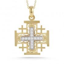 Lady's Two-Tone 14 Karat Jerusalem Cross Pendant Length 18