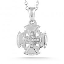 Lady's White 14 Karat Jerusalem Cross Pendant