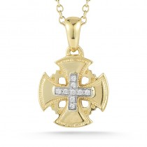 Lady's Yellow 14 Karat Jerusalem Cross Pendant