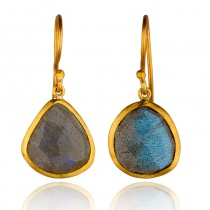 Lady's 24 Karat Drop Earrings With Oval Labradorites