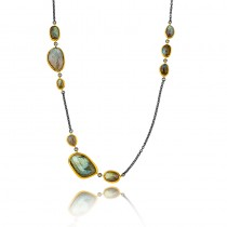 Lady's Two-Tone Ss-24K Necklace With Various Shapes Labradorites