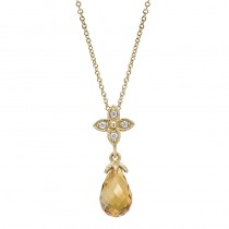 Lady's Yellow 14 Karat Drop Necklace With One Citrine And Round Diamonds