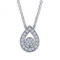 Lady's White 14 Karat Pear Shape Pendant With Round Diamonds