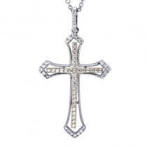 Lady's Two-Tone 14 Karat Cross Pendant With Round Diamonds