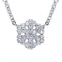 Lady's White 14 Karat Pendant With Round Diamonds