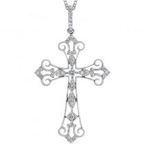 Lady's White 14 Karat Cross Necklace With Round Diamonds
