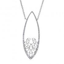 Lady's White 14 Karat Necklace With Round Diamonds