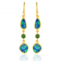 Lady's 24 Karat Earrings With Boulder Opals And Round Green Tsavorite Garnets