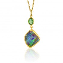 Lady's Two-Tone Ss-24K Necklace With One Boulder Opal And One Oval Green Tsavorite Garnet