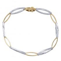 Lady's Two-Tone 14 Karat Bracelet Length 7 With Round Diamonds