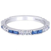 Lady's White 14 Karat Fashion Ring With Baguette Sapphires And Round Diamonds