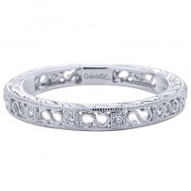 Lady's White 14 Karat Stackable Fashion Ring With Round Diamonds