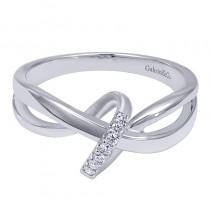 Lady's White 14 Karat Fashion Ring With Round Diamonds