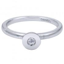 Lady's White 14 Karat Fashion Ring With One Round Diamond