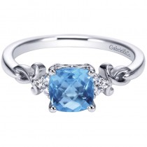 Lady's White 14 Karat Fashion Ring With One Cushion Swiss Blue Topaz And Round Diamonds