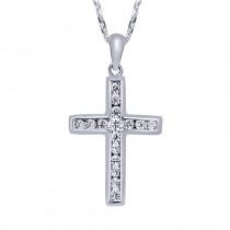 Lady's White 14 Karat Cross Pendant Length 18 With Round Diamonds