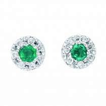 Lady's White 14 Karat Stud Earrings With Retangular Cushion Emeralds And Round Diamonds