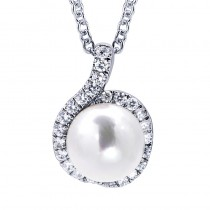 Lady's White 14 Karat Pendant With One Round White Pearl And Round Diamonds