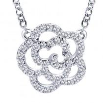 Lady's White 14 Karat Flower Pendant With Round Diamonds