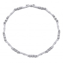 Lady's White 14 Karat Bracelet With Round Diamonds