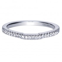 Lady's White 14 Karat Slightly Curved Wedding Band With Round Diamonds