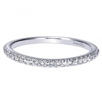 Lady's White 14 Karat Wedding Band With Round Diamonds