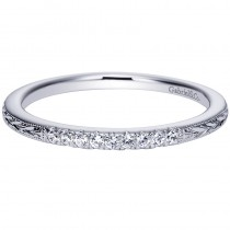 Lady's White 14 Karat Engraving Wedding Band With Round Diamonds