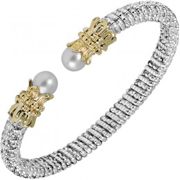 Two-tone Pearl Cuff Bangle Bracelet