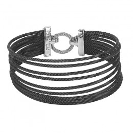 Two-Toned 18K Wg-Ss Cable Bracelet