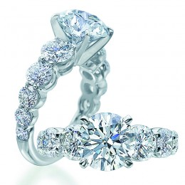 Platinum Shared Prong  Engagement Mounting  with 14=2.63ctw Round Diamonds