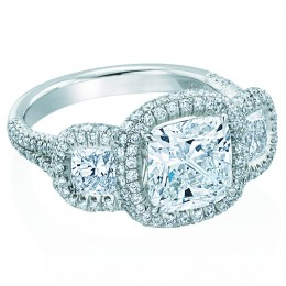 Platinum 3 Stone with Halo  Engagement Mounting  with 1.68ctw Round Diamonds