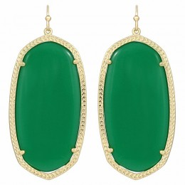 Ladys Yellow 14K Gold Plate Danielle W- Green Translucent Glass Earrings