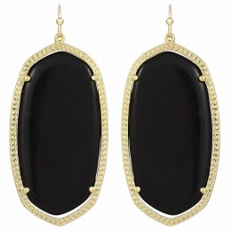 Ladys Yellow 14K Gold Plate Danielle W- Black Opaque Glass Earrings