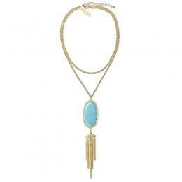 Ladys Yellow 14K Gold Plate Rayne W- Turquoise Magnesite Necklace
