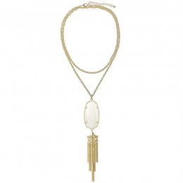 Ladys Yellow 14K Gold Plate Rayne W- White Mop Necklace