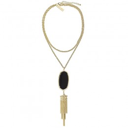 Ladys Yellow 14K Gold Plate Rayne W- Black Opaque Glass Necklace