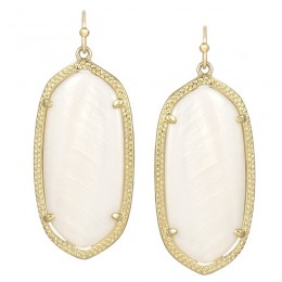 Ladys Yellow 14K Gold Plate Elle W- White Mop Earrings