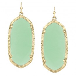 Ladys Yellow 14K Gold Plate Elle W- Chalcedony Translucent Glass Earrings