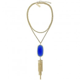 Ladys Yellow 14K Gold Plate Rayne W- Cobalt Cats Eye Necklace