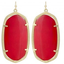 Ladys Yellow Gold Plate Danielle W- Bright Red Translucent Glass Earrings